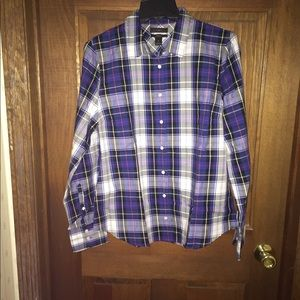 J Crew perfect shirt in navy plaid item g8450
